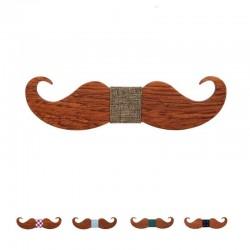 Noeud Papillon Moustache Bois Noir