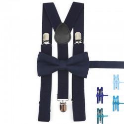 Bretelle et Nœud Papillon Bleu - Coton