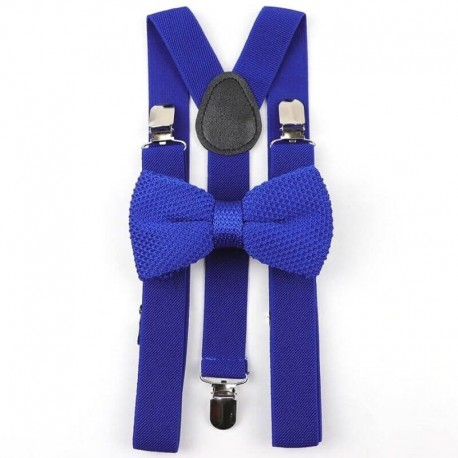 Bretelle et Noeud Papillon Tricot Bleu