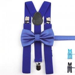 Bretelles Bleues et Noeud Papillon Bleu à Pois Blancs