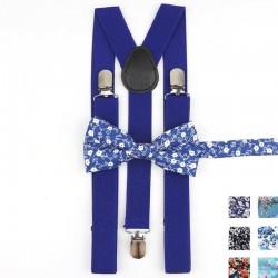 Bretelles et Noeud Papillon Bleu - Fleurs