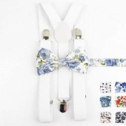 Bretelles et Nœud Papillon Blanc - Fleuri