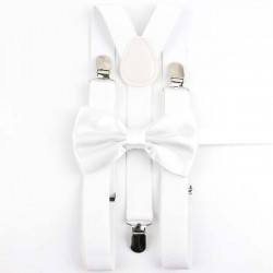 Bretelles et Nœud Papillon Blanc Brillant