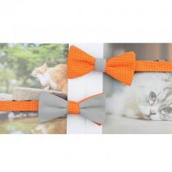 Noeud Papillon Réversible Orange à Pois