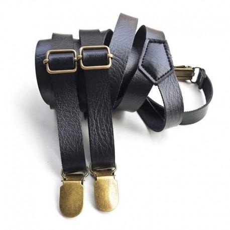 Bretelles en cuir noir