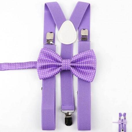 Bretelles Violettes et Noeud Papillon Violet à Pois