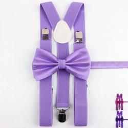 Bretelles et Noeud Papillon Violet -Brillant