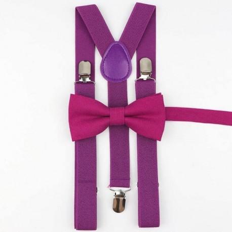 Bretelles et Noeud Papillon Violet - Coton