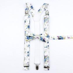 Bretelle et Noeud Papillon Liberty Blanc