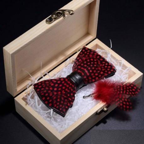 Noeud Papillon Plume Rouge