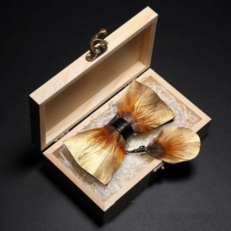 Noeud Papillon Plume Dorée